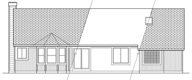 Cape Cod Ranch House Plan 59481 Rear Elevation