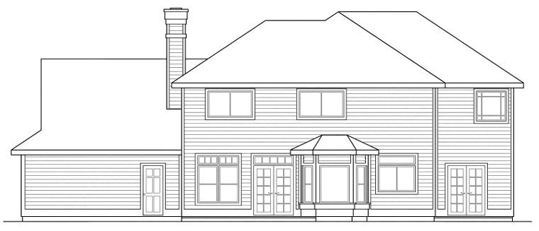 Colonial , Traditional , Rear Elevation of Plan 59482