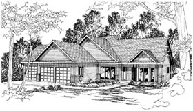 Traditional , Contemporary House Plan 59484 with 3 Beds, 2 Baths, 3 Car Garage Elevation