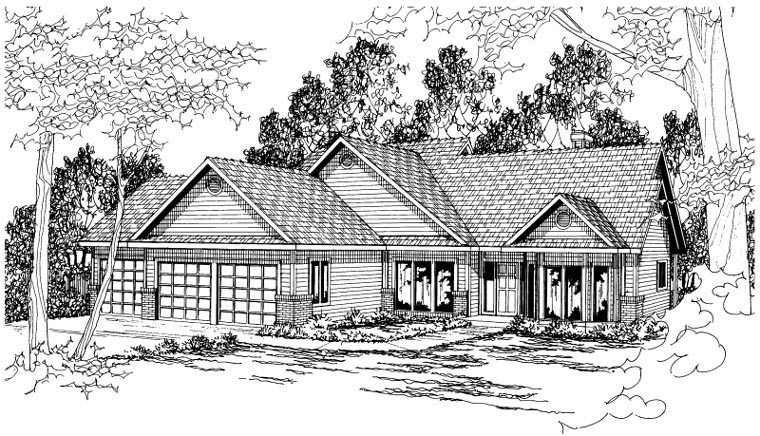 Contemporary Traditional House Plan 59484 Elevation