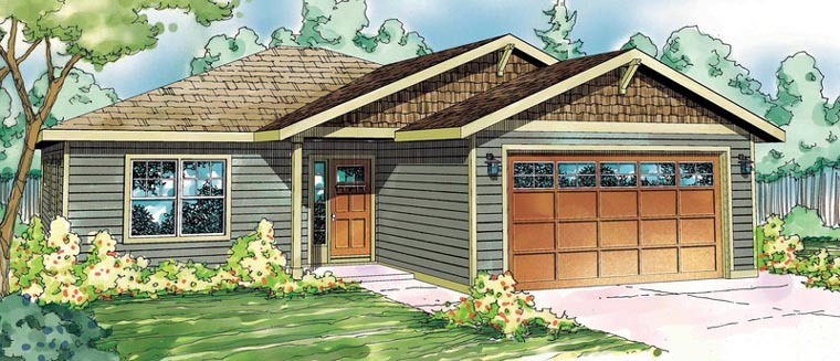 House Plan 59486 | Bungalow Contemporary Cottage Country Craftsman Style Plan with 1532 Sq Ft, 3 Bedrooms, 2 Bathrooms, 2 Car Garage Elevation