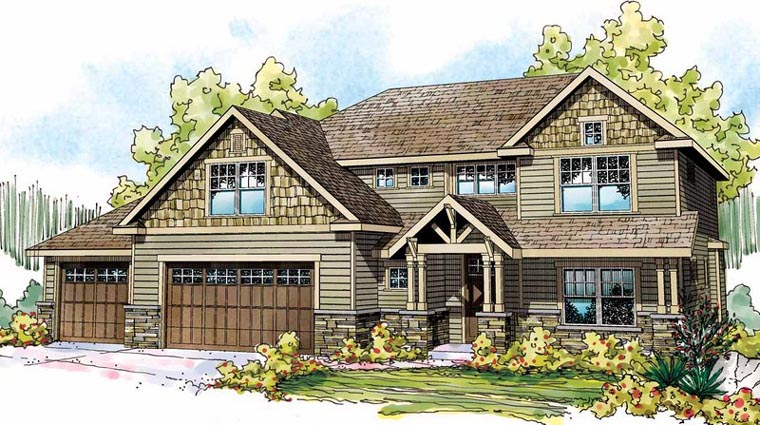 Cottage Country Craftsman European Traditional Elevation of Plan 59487