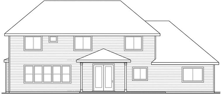 Cottage Country Craftsman European Traditional Rear Elevation of Plan 59487