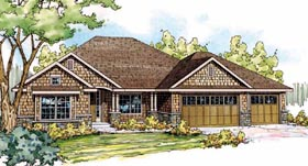 House Plan 59488 | Cottage Craftsman Style Plan with 2437 Sq Ft, 3 Bedrooms, 3 Bathrooms, 3 Car Garage Elevation