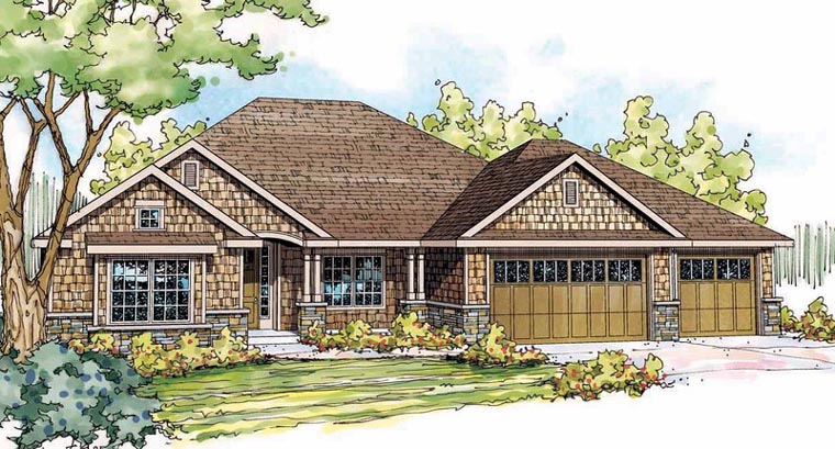 Cottage , Craftsman , Elevation of Plan 59488