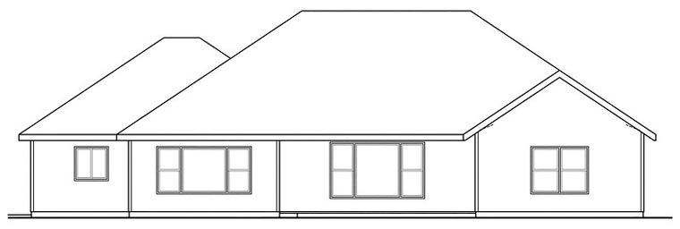 Cottage Craftsman House Plan 59488 Rear Elevation