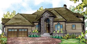 Tudor , Traditional , European House Plan 59489 with 4 Beds, 5 Baths, 2 Car Garage Elevation