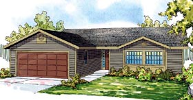 Traditional , Ranch , Country , Contemporary House Plan 59490 with 3 Beds, 2 Baths, 2 Car Garage Elevation