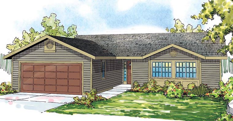 Contemporary Country Ranch Traditional House Plan 59490