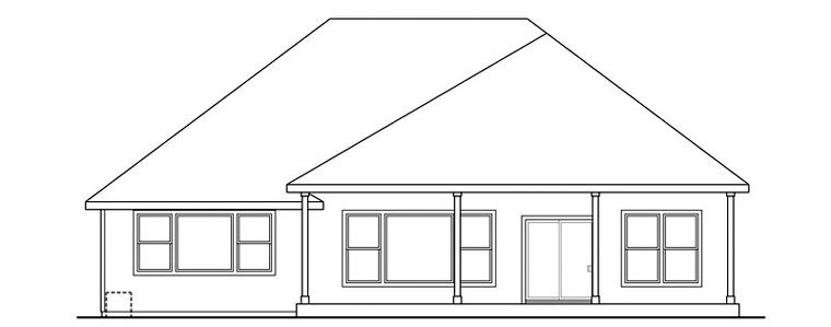 Cape Cod Cottage Craftsman European Ranch House Plan 59492 Rear Elevation