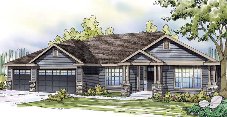 Country, European, Ranch, Traditional House Plan 59494 with 3 Beds, 3 Baths, 3 Car Garage Elevation