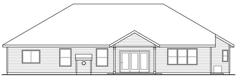 Country European Ranch Traditional Rear Elevation of Plan 59494