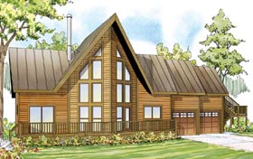 A-Frame , Cabin , Contemporary , Cottage House Plan 59495 with 3 Beds, 3 Baths, 2 Car Garage Elevation