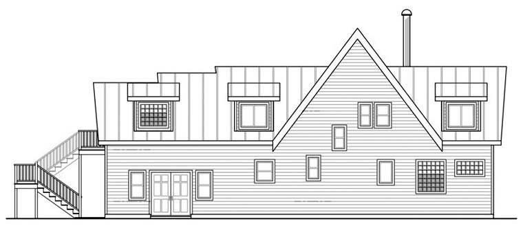 A-Frame Cabin Contemporary Cottage House Plan 59495 Rear Elevation