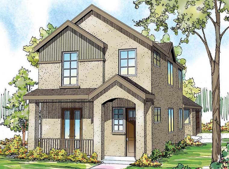 Contemporary, Florida, Mediterranean, Southwest House Plan 59497 with 3 Beds, 3 Baths, 2 Car Garage Elevation