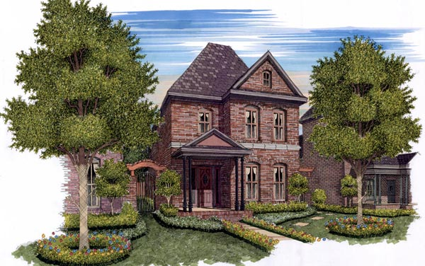Traditional , European House Plan 59500 with 3 Beds, 3 Baths, 2 Car Garage Elevation