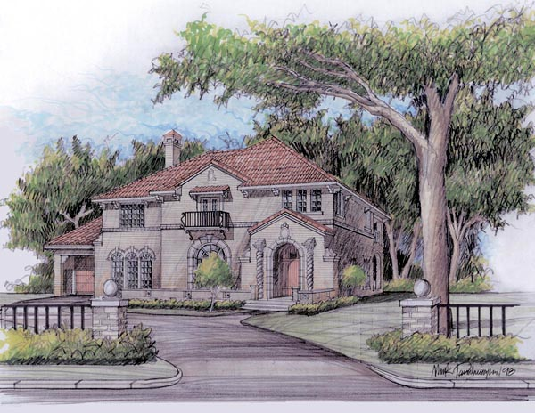European, Mediterranean, Traditional House Plan 59502 with 4 Beds, 4 Baths, 2 Car Garage Front Elevation