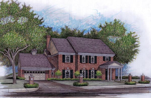 Colonial, Traditional House Plan 59503 with 4 Beds, 4 Baths, 2 Car Garage Front Elevation