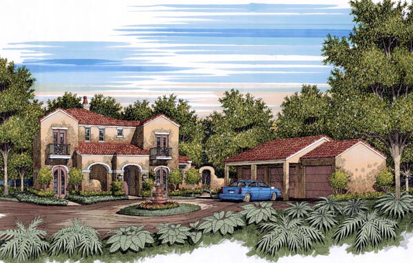 Traditional , Mediterranean , European House Plan 59505 with 4 Beds, 4 Baths Elevation