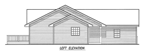 Traditional House Plan 59643 with 3 Beds, 2 Baths, 3 Car Garage Rear Elevation