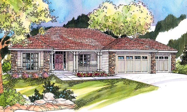 Contemporary , European , Ranch House Plan 59701 with 3 Beds, 2 Baths, 3 Car Garage Elevation