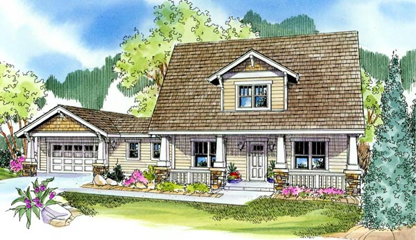 Bungalow, Cabin, Cottage, Country, Craftsman House Plan 59702 with 3 Beds, 3 Baths, 2 Car Garage Elevation