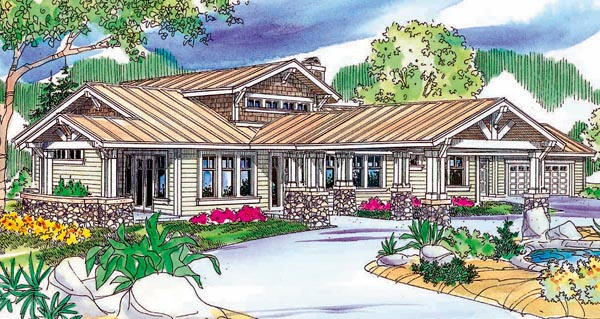 Bungalow Craftsman Ranch House Plan 59703 Elevation