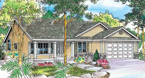 Contemporary Cottage Country Ranch House Plan 59704 Elevation
