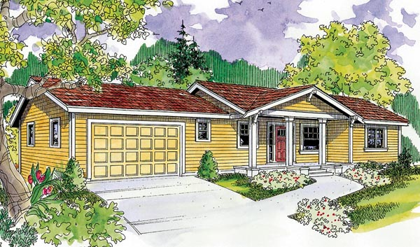 Bungalow, Cottage, Country, Craftsman, Ranch House Plan 59706 with 3 Beds , 3 Baths , 2 Car Garage Elevation