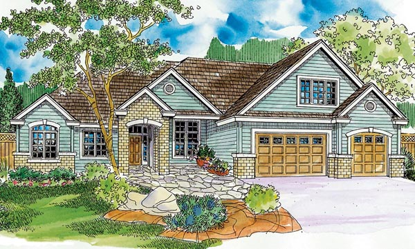 Contemporary, European, Ranch House Plan 59707 with 4 Beds, 4 Baths, 3 Car Garage Elevation