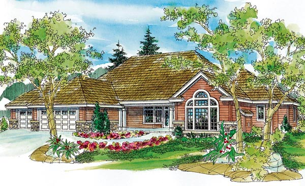 Country European Ranch Traditional House Plan 59710 Elevation