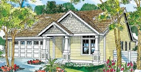 House Plan 59713 | Bungalow Cottage Country Craftsman Ranch Style Plan with 1500 Sq Ft, 3 Bed, 2 Bath, 2 Car Garage Elevation
