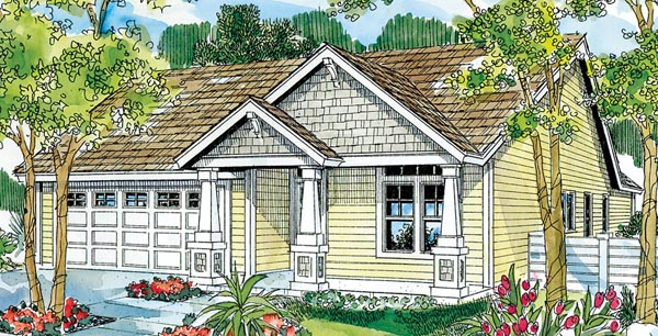 Bungalow, Cottage, Country, Craftsman, Ranch House Plan 59713 with 3 Beds, 2 Baths, 2 Car Garage Elevation