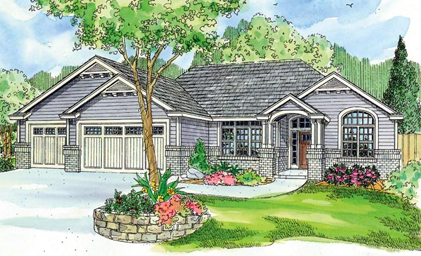 Contemporary Craftsman Ranch Traditional House Plan 59714 Elevation