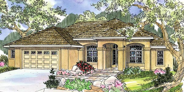 Florida, Mediterranean, Ranch, Southwest House Plan 59716 with 3 Beds, 2 Baths, 2 Car Garage Front Elevation