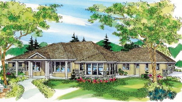 Colonial Country European Florida Ranch Elevation of Plan 59717