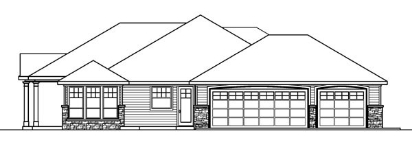 Colonial, Country, European, Florida, Ranch House Plan 59717 with 3 Beds, 3 Baths, 3 Car Garage Picture 2
