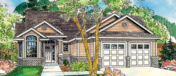Contemporary, Cottage, European, Traditional House Plan 59719 with 3 Beds, 3 Baths, 2 Car Garage Front Elevation
