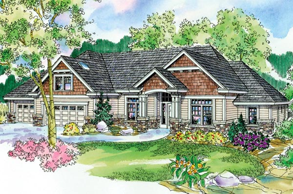 Cottage Craftsman European Ranch Elevation of Plan 59721