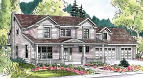 House Plan 59723 | Contemporary Cottage Country Farmhouse Traditional Style Plan with 1988 Sq Ft, 3 Bedrooms, 3 Bathrooms, 3 Car Garage Elevation