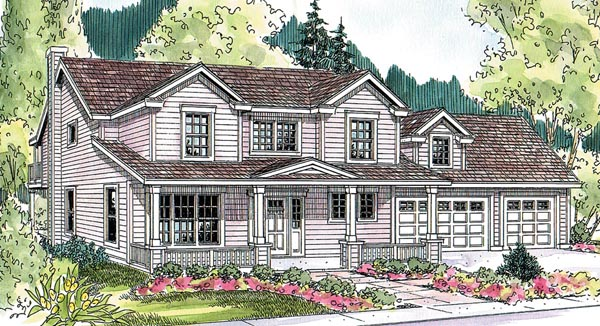Contemporary Cottage Country Farmhouse Traditional Elevation of Plan 59723