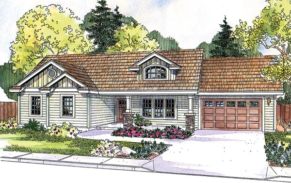 Contemporary Cottage Country Craftsman Ranch House Plan 59724 Elevation
