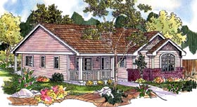 Cottage , Country , Ranch , Traditional , Victorian House Plan 59725 with 3 Beds, 2 Baths, 2 Car Garage Elevation