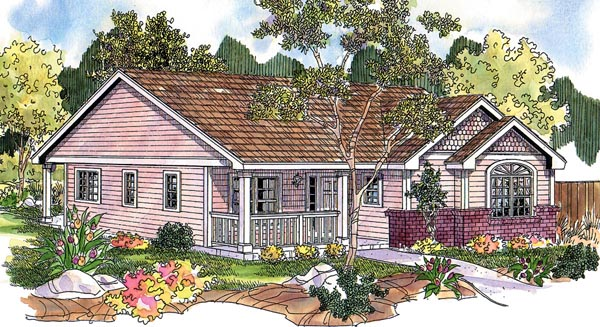Cottage Country Ranch Traditional Victorian Elevation of Plan 59725