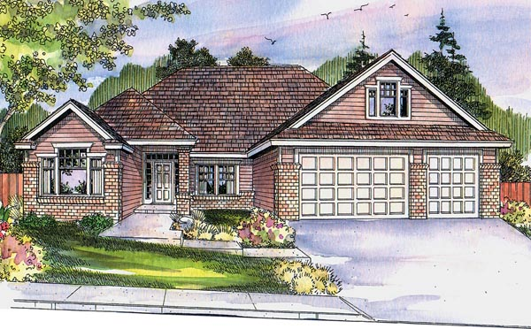 Country Craftsman Ranch Traditional House Plan 59727 Elevation
