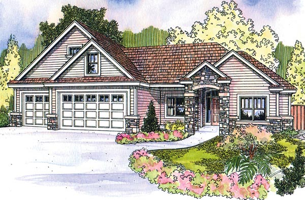 Cottage Craftsman European Ranch House Plan 59728 Elevation