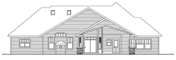 Cottage Craftsman European Ranch House Plan 59728 Rear Elevation