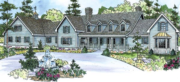Colonial Country Farmhouse Florida House Plan 59729 Elevation