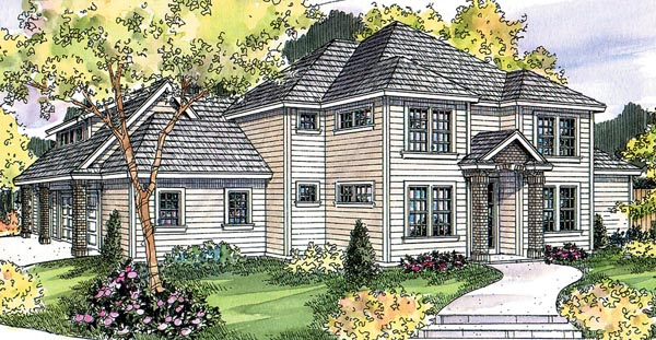 Contemporary , Country , European , Traditional House Plan 59730 with 3 Beds, 3 Baths, 3 Car Garage Elevation