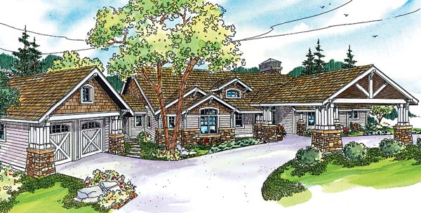 Bungalow , Cottage , Country , Craftsman , Ranch House Plan 59732 with 2 Beds, 4 Baths, 2 Car Garage Elevation